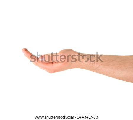 Asking for alms help caucasian hand gesture isolated over white background - stock photo