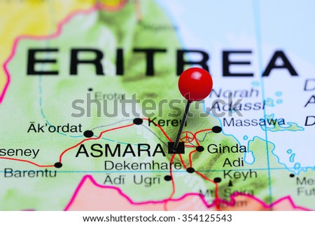 Asmara pinned on a map of Africa  - stock photo