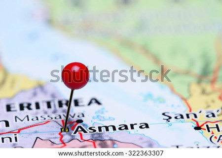 Asmara pinned on a map of Asia  - stock photo
