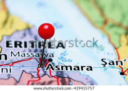 Asmara pinned on a map of Eritrea  - stock photo