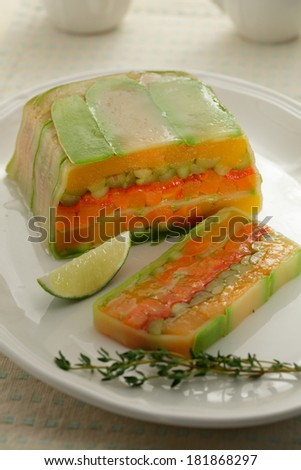 Asparagus and carrots  jelly cake/ aspic - stock photo