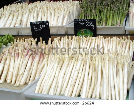 Asparagus in a market display - stock photo