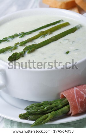 Asparagus soup in white bowl macro and crunches. vertical  - stock photo