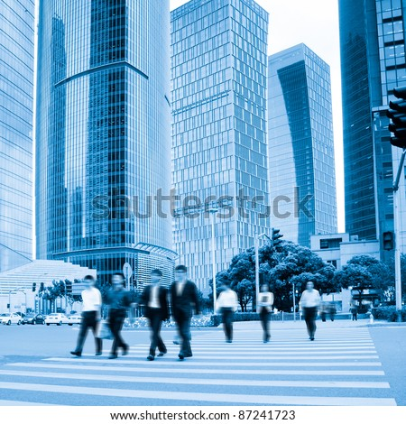Aspect and pedestrians cross motion blur in person - stock photo