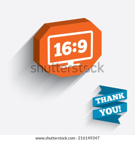 Aspect ratio 16:9 widescreen tv sign icon. Monitor symbol. White icon on orange 3D piece of wall. Carved in stone with long flat shadow. - stock photo