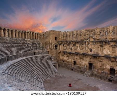 aspendos amphitheater (Antalya Turkey - stock photo