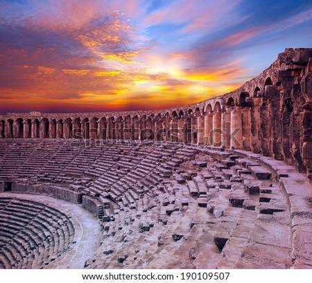 aspendos amphitheater (Antalya Turkey)  - stock photo