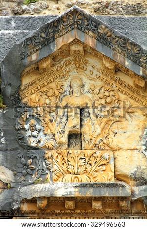ASPENDOS, TURKEY - MAY 09, 2013: detail of ancient amphitheater - stock photo