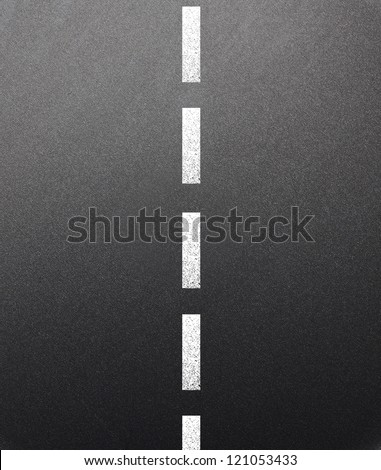 Asphalt dark texture with white  line - stock photo