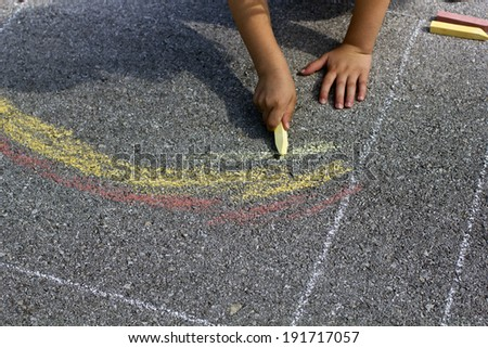 Asphalt rainbow - stock photo