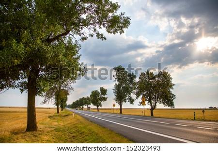 asphalt road in Poland - stock photo