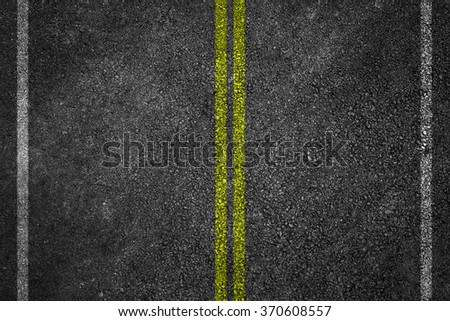 Asphalt Road Texture with White Stripes and yellow - stock photo