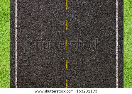 Asphalt road texture,yellow and white  line on road - stock photo