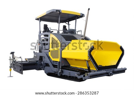 asphalt spreading machine under the white background - stock photo