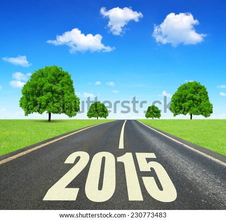 Asphalted road .Forward to the New Year 2015  - stock photo