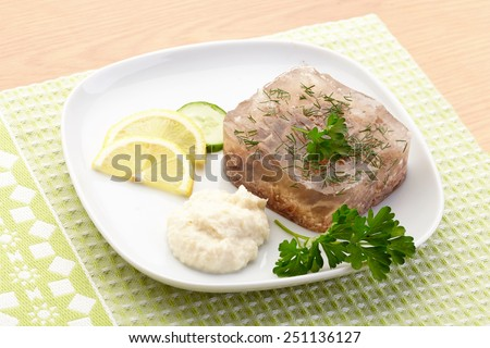 Aspic of beef on white plate with lemon, cucumber, horseradish and parsley - stock photo