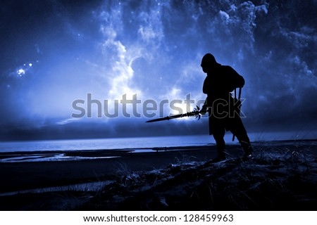 assassin at starry night - stock photo