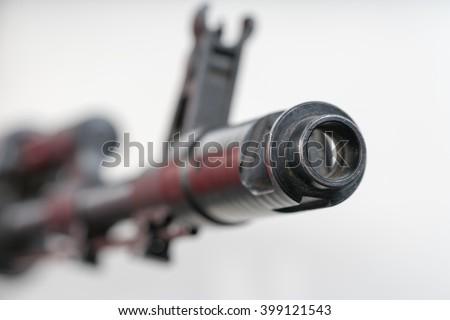 Assault rifle, AK-47. Toned - stock photo
