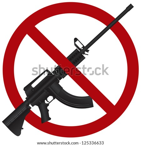 Assault Rifle AR 15 Gun Ban Symbol Isolated on White Background Illustration Raster Vector - stock photo