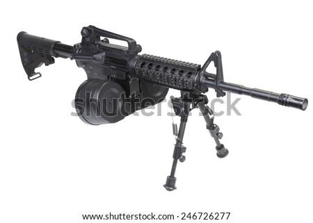 assault rifle assault rifle with bipod isolated on a white backgroundwith bipod isolated on a white background - stock photo