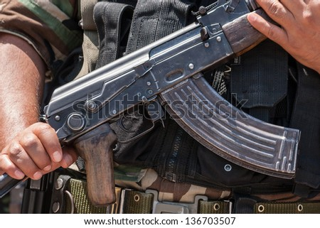 assault rifle of a peruvian SWAT. AKM - stock photo
