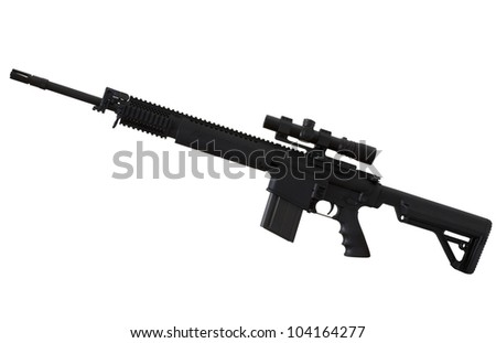 Assault rifle with a scope that is isolated on white - stock photo