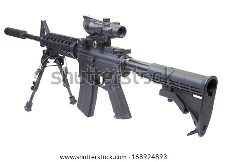 assault rifle with bipod and silencer isolated on a white background - stock photo