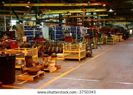 Assembly Line at a Metal Working Factory. - stock photo