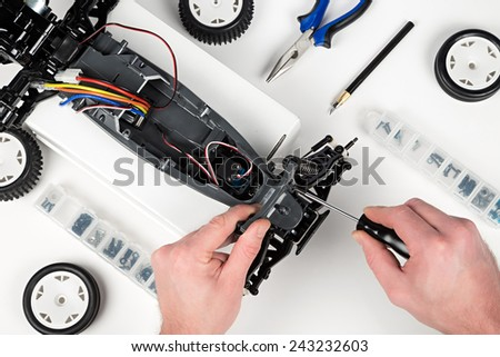 assembly of a rc car  - stock photo