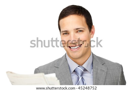 Assertive businessman reading a newspaper isolated on a white background - stock photo