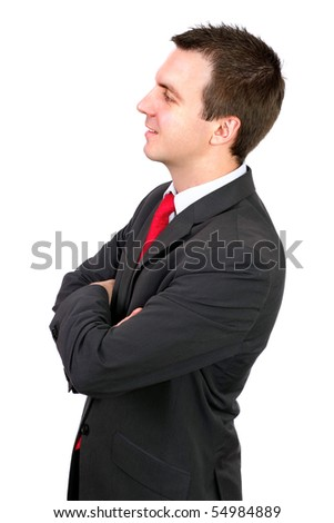 Assertiveness cheerful young businessman . Isolated - stock photo