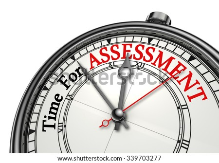 Assessment time red word on concept clock, isolated on white background - stock photo