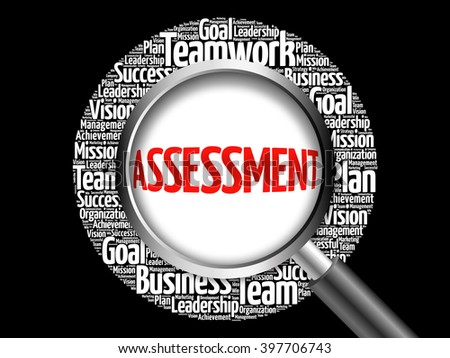 ASSESSMENT word cloud with magnifying glass, business concept - stock photo