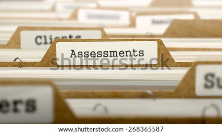 Assessments Concept. Word on Folder Register of Card Index. Selective Focus. - stock photo