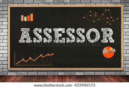 ASSESSOR on brick wall and chalkboard background - stock photo