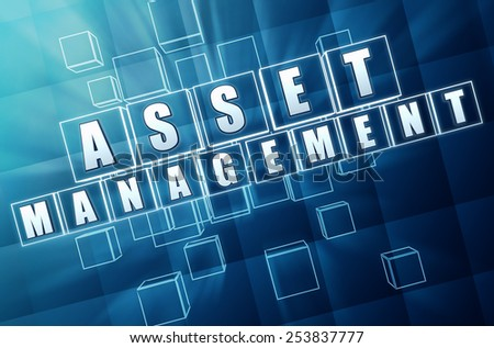 asset management - text in 3d blue glass cubes with white letters, business financial operation concept - stock photo