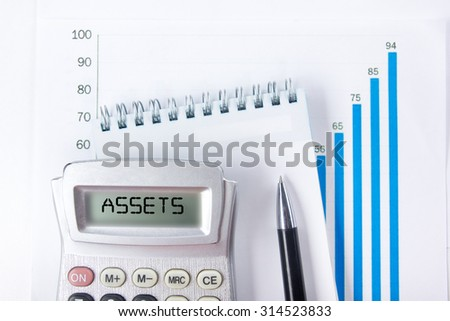 Assets - Financial accounting stock market graphs analysis. Calculator, notebook with blank sheet of paper, pen on chart. Top view - stock photo