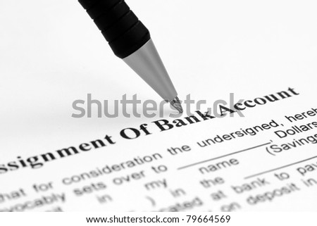 Assignment of bank account - stock photo