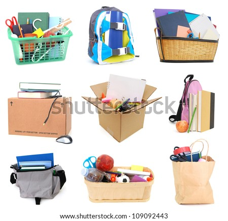 Assignment school list collage - stock photo