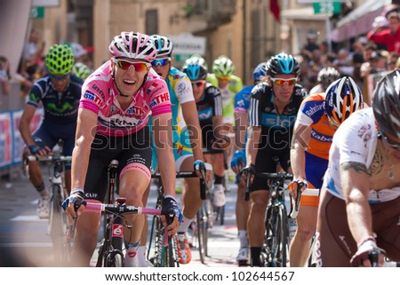 ASSISI, PERUGIA, ITALY - MAY 15: Ryder Hesjedal, Team Garmin, leader of general ranking of the competition, at the end of the 10th stage of 2012 Giro d'Italia on May 15, 2012 in Assisi, Perugia, Italy - stock photo
