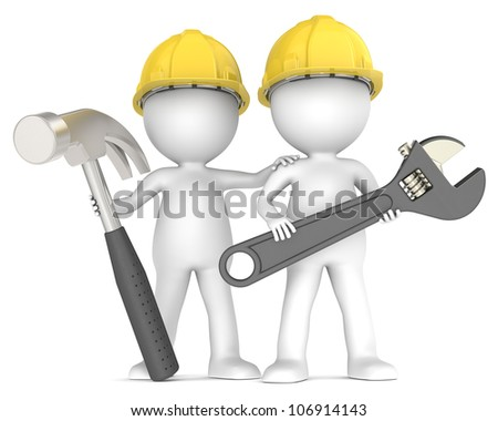 Assistance. 3D little human character The Builders X2 with Hammer and Wrench. People Series. - stock photo