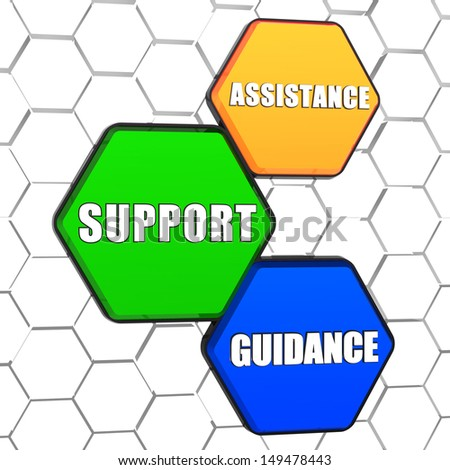 assistance, support, guidance - business concept words in 3d colorful hexagons in cellular structure - stock photo
