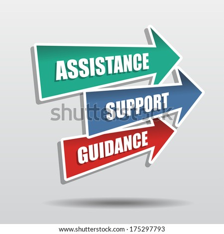 assistance, support, guidance in arrows, business concept words, flat design - stock photo