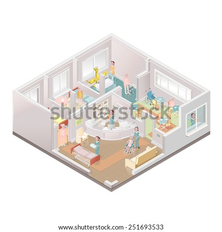 Assisted-living facility, nursing home illustration - stock photo