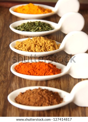 Assorment of indian spices arranged in a tray - stock photo