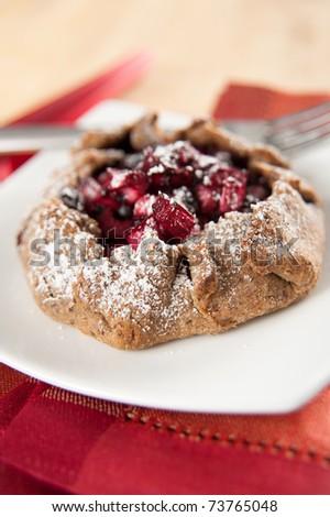 Assorted Berries and Rhubarb Whole Grain Tart - stock photo