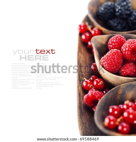 assorted berries isolated on white (easy removable text) - stock photo