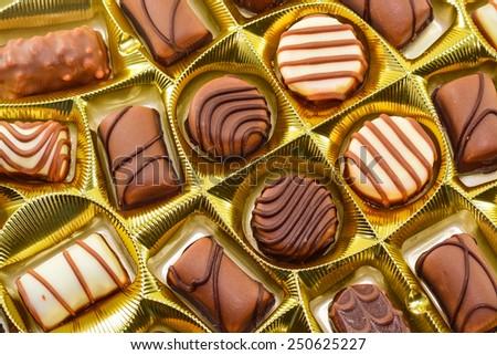 assorted box of chocolates. - stock photo