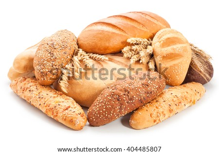 assorted breads isolated on a white background. - stock photo