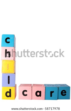 assorted childrens toy letter building blocks against a white background that spell childcare with clipping path - stock photo